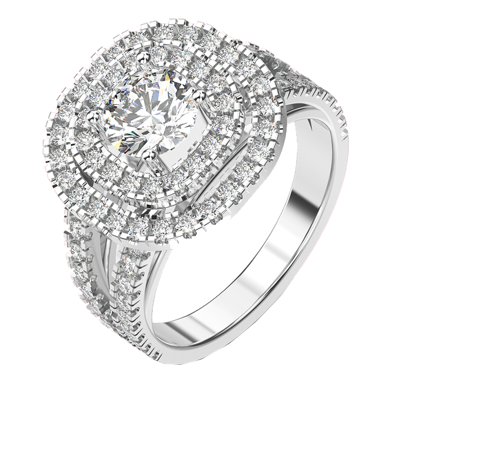 Gold Diamond Engagement Weddning Rings